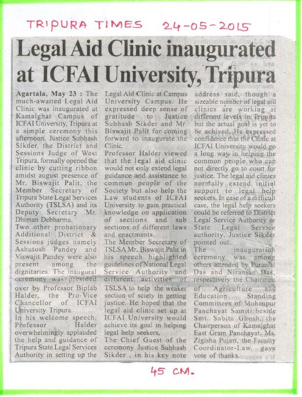 Press Clippings | The ICFAI University Tripura | Full-time Campus